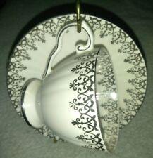 ROYAL GRAFTON ENGLAND FINE BONE CHINA TEA CUP & SAUCER silver embroidered vtg