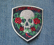Lady Rider Skull Biker Patch Red Roses High Heel Iron On Embroidered PATCH
