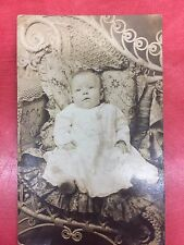 VTG Antique RPPC Victorian Baby Christening Gown Pillow Wicker Bed Bench Infant