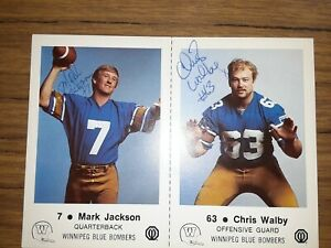 Autographed Chris Walby police football card (also signed by QB Mark Jackson)