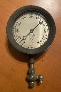 """Antique E H Ashcroft Steam Gauge 5 3/4"""" Dark Patinated Bezel Glass Intact"""