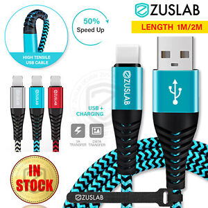 ZUSLAB Nylon USB 3A Fast Charging Cable Data For Apple Charger iPhone iPad