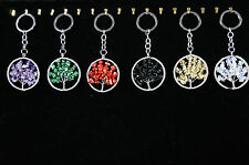 Tree of life Gemstone keyring pendant Necklace crystal natural stone Amethyst