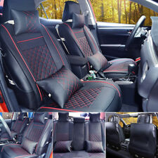 Black/Red 7pc Car SUV Seat Cover PU Leather 5-Seats Front+Rear Cushion & Pillows