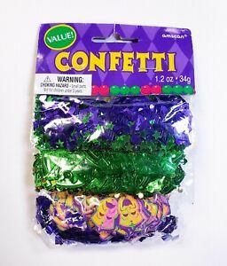 Mardi Gras Themed Confetti Value Pack Green Gold Purple Amscan 1.2oz Assorted