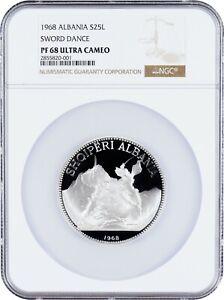 1968 Albania 25 Leke Proof Silver Sword Dance NGC PF68 Ultra Cameo