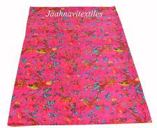 Indian Cotton Kantha Quilt Screen Print Bird Bedspread Blanket Bedding Coverlet