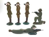 "Antique Wood WWI Doughboys Toy Soldiers Hand Painted 3-3/4"" Tall Lot of 5 ~Rare~"