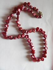 DYED PINK PEARL SLIGHTLY GRADUATED FREEFORM NECKLACE STERLING SILVER CLASP  A6