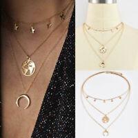 Women Multilayer Choker Necklace Star Moon World Map Chain Pendant Jewelry
