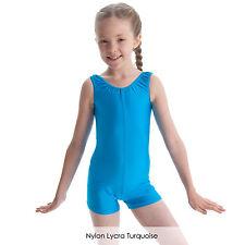 Girls' Sleeveless Plain Dance Gymnastics Short Boy Cut Unitard Catsuit Lycra NEW