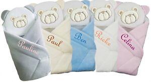 Baby Einschlagdecke mit Namen bestickt, Babynest, Pucktuch inkl. Kissen
