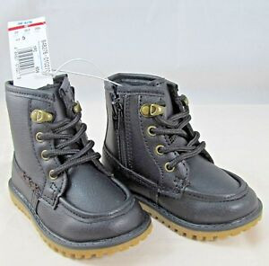Toddler Boys Black Faux Leather with Brown Stripe 3 Hole Boots (Size 5) New