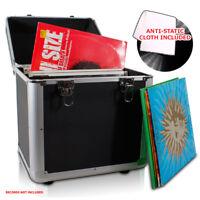 "LP 100 x 12"" Vinyl Record Box Storage DJ Case BLACK with Anti-Static Cloth"