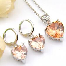 Heart Shine Morganite Zirconia Silver Drop Earrings Pendant Necklace Jewerly Set