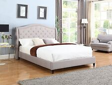 GREY Curved Diamond Tufted Nail QUEEN Size Platform Bed Frame Slats Bedroom NEW