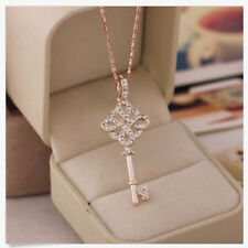 Women 9K Rose Gold Filled Key Style Necklace & Pendant Fashion Chic SG