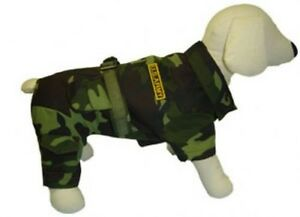 Army Suit Costume For Dogs Durable Authentic Green Camouflage Cargo Style Jumper
