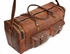 Vintage Real Leather Duffle Weekend Sport Bag Canvas Military Shoulder Handbag