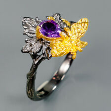 Lover Jewelry Design Natural Amethyst 925 Sterling Silver Ring Size 8.5/R94184