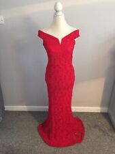 QUIZ RED BARDOT LACE SEQUIN LONG  MAXI EVENING PARTY OCCASION DRESS GOWN SIZE 16