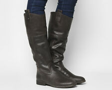 Womens Office Brown Leather Zip Knee High Boots Size UK 5 *Ex-Display