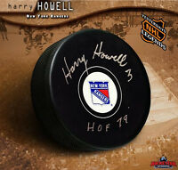 HARRY HOWELL Signed New York Rangers Puck w/ Hall of Fame Inscription
