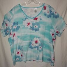 Blue Tropical V Neck Short Sleeve Top Liz Claiborne Plus Size XL 2X 18 20 Cotton
