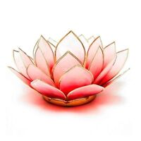 Red & White with Gold Trim Lotus Flower Chakra Tea Light Candle Holder & Candle
