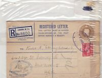 london to usa 1949 registared letter stamps cover ref 8619