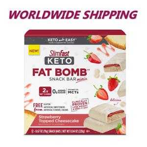 Slim Fast Keto Fat Bomb Snack Bar Strawberry Topped Cheesecake FREE WORLD SHIP