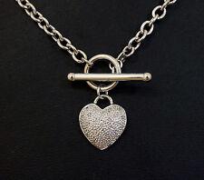 9Ct Hollow White Gold 4mm Round Belcher w/T-Bar & Diamond (0.10ct) Heart Pendant