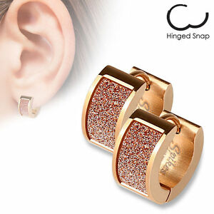Stainless Steel Rose Gold  Ear Studs Earrings Square Pink Sand Sparkle Mens Hoop