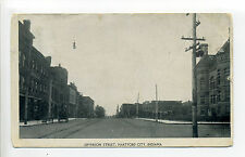 Hartford City IN Indiana (Blackford Co) Jefferson Street view, stores, 1908