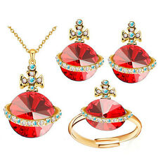 Gold Red Jewellery Set Saturn Orb Cross Stud Earrings Ring and Necklace Set S695