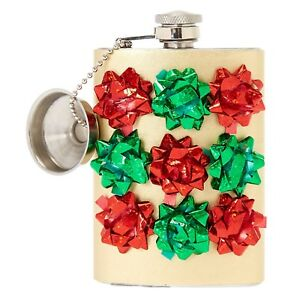 Confetti Gift Bow Flask Gag Gift Xmas Holiday Christmas Gift Ugly Sweater