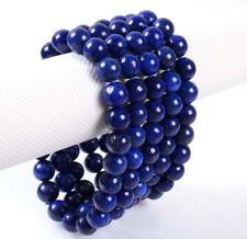 "Handmade 4pcs 8mm Blue Lazuli Gemstone Beads Stretch Bangle Bracelet 7.5"" Y3417"
