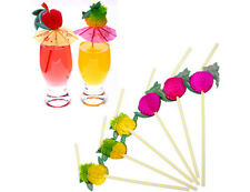 50Pcs Hawaiian Theme 3D Fruit Summer Party Colorful Funny Cocktail Drink Straw H