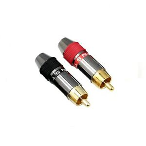 2 PCS Professional RCA Phono Male Non-Solder Solderless Connector Adapter Plug