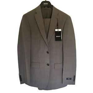 DKNY Men's All Wool Slim Fit 2 Piece Suit - Grey - Size 38 Long, Dominic, Mauve