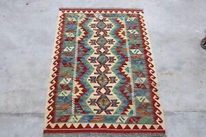 Afghan Kundoz Genuine Handmade Tribal Nomad Multi Colour Wool Kilim Rug 83x121cm