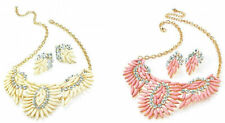 CRYSTAL & COLOURED BEAD CHAIN NECKLACE & MATCHING EARRINGS SET