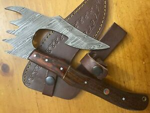 Brussel Handmade Damascus Steel Walnut Wood Hunting Clever Chopper Axe Knife