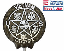 Vietnam War Aluminum Grave Marker, Cemetery Memorial Flag Holder, Made In USA