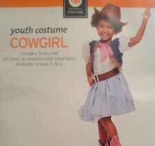 Girls Cowgirl Costume Dress with Hat Vest Blue Plaid Youth Size S (4-6) New!