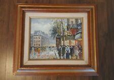 VINTAGE Max Taylor Oil Canvas Painting Paris Parisian Busy Street Scene Signed