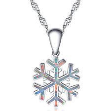 NEW woman 925 Silver Snowflake White Fire Opal Charm Pendant Necklace Chain !!