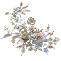 Pearl Beaded 3D Flower Lace Applique Wedding Dress Decors Floral Patch Costume