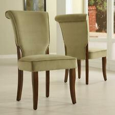 New ListingSet 2 Olive Velvet Parsons Side Wood Dining Kitchen Chairs High Back Seating New