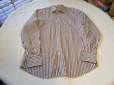 Mens Rene Lezard slim fit 44 long sleeve button up shirt brown white EUC @